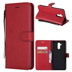 Retro Greek Classic Smooth PU Leather Wallet Phone Case for Huawei Mate 20 Lite - Red