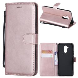 Retro Greek Classic Smooth PU Leather Wallet Phone Case for Huawei Mate 20 Lite - Rose Gold