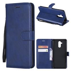 Retro Greek Classic Smooth PU Leather Wallet Phone Case for Huawei Mate 20 Lite - Blue