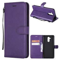 Retro Greek Classic Smooth PU Leather Wallet Phone Case for Huawei Mate 20 Lite - Purple