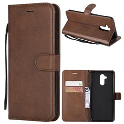 Retro Greek Classic Smooth PU Leather Wallet Phone Case for Huawei Mate 20 Lite - Brown