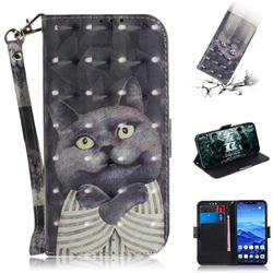 Cat Embrace 3D Painted Leather Wallet Phone Case for Huawei Mate 20 Lite
