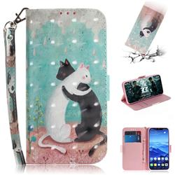 Black and White Cat 3D Painted Leather Wallet Phone Case for Huawei Mate 20 Lite