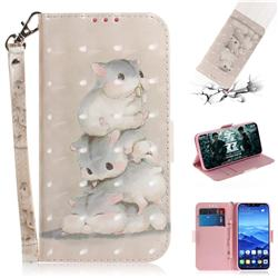 Three Squirrels 3D Painted Leather Wallet Phone Case for Huawei Mate 20 Lite