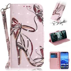 Butterfly High Heels 3D Painted Leather Wallet Phone Case for Huawei Mate 20 Lite