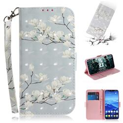 Magnolia Flower 3D Painted Leather Wallet Phone Case for Huawei Mate 20 Lite
