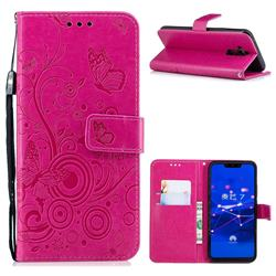 Intricate Embossing Butterfly Circle Leather Wallet Case for Huawei Mate 20 Lite - Red