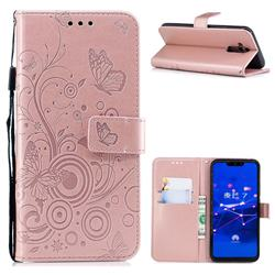 Intricate Embossing Butterfly Circle Leather Wallet Case for Huawei Mate 20 Lite - Rose Gold