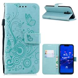 Intricate Embossing Butterfly Circle Leather Wallet Case for Huawei Mate 20 Lite - Cyan
