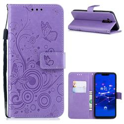 Intricate Embossing Butterfly Circle Leather Wallet Case for Huawei Mate 20 Lite - Purple