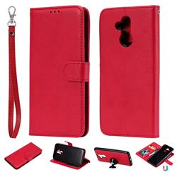 Retro Greek Detachable Magnetic PU Leather Wallet Phone Case for Huawei Mate 20 Lite - Red