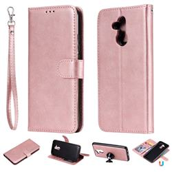 Retro Greek Detachable Magnetic PU Leather Wallet Phone Case for Huawei Mate 20 Lite - Rose Gold