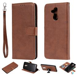 Retro Greek Detachable Magnetic PU Leather Wallet Phone Case for Huawei Mate 20 Lite - Brown