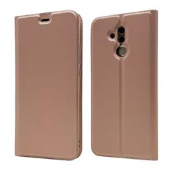 Ultra Slim Card Magnetic Automatic Suction Leather Wallet Case for Huawei Mate 20 Lite - Rose Gold