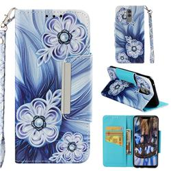 Button Flower Big Metal Buckle PU Leather Wallet Phone Case for Huawei Mate 20 Lite