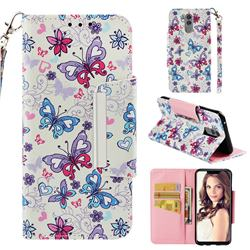 Colored Butterfly Big Metal Buckle PU Leather Wallet Phone Case for Huawei Mate 20 Lite