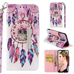 Owl Wind Chimes Big Metal Buckle PU Leather Wallet Phone Case for Huawei Mate 20 Lite
