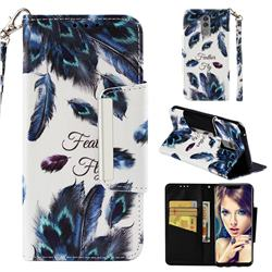 Peacock Feather Big Metal Buckle PU Leather Wallet Phone Case for Huawei Mate 20 Lite