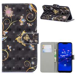 Black Butterfly 3D Painted Leather Phone Wallet Case for Huawei Mate 20 Lite