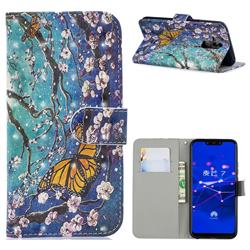 Blue Butterfly 3D Painted Leather Phone Wallet Case for Huawei Mate 20 Lite