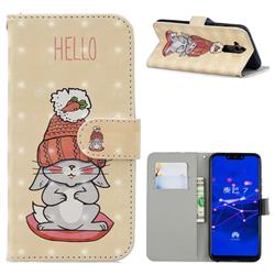 Hello Rabbit 3D Painted Leather Phone Wallet Case for Huawei Mate 20 Lite