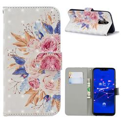 Rose Flowers 3D Painted Leather Phone Wallet Case for Huawei Mate 20 Lite