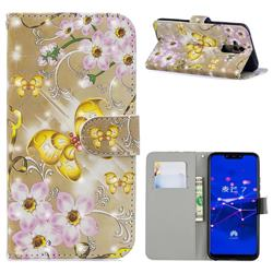 Golden Butterfly 3D Painted Leather Phone Wallet Case for Huawei Mate 20 Lite