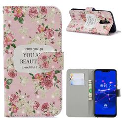 Butterfly Flower 3D Painted Leather Phone Wallet Case for Huawei Mate 20 Lite