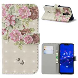 Beauty Rose 3D Painted Leather Phone Wallet Case for Huawei Mate 20 Lite