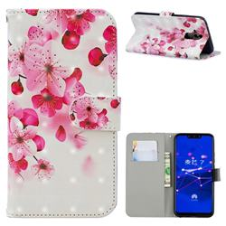 Red Flower 3D Painted Leather Phone Wallet Case for Huawei Mate 20 Lite