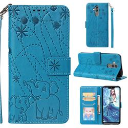 Embossing Fireworks Elephant Leather Wallet Case for Huawei Mate 20 Lite - Blue