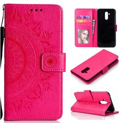 Intricate Embossing Datura Leather Wallet Case for Huawei Mate 20 Lite - Rose Red
