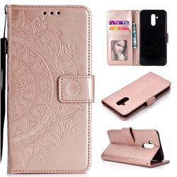 Intricate Embossing Datura Leather Wallet Case for Huawei Mate 20 Lite - Rose Gold