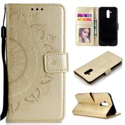 Intricate Embossing Datura Leather Wallet Case for Huawei Mate 20 Lite - Golden