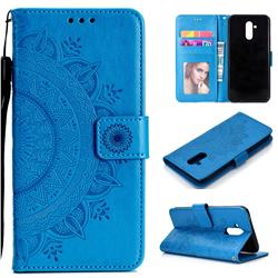 Intricate Embossing Datura Leather Wallet Case for Huawei Mate 20 Lite - Blue