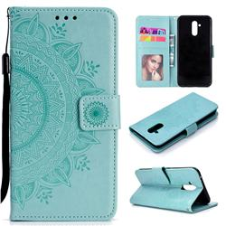 Intricate Embossing Datura Leather Wallet Case for Huawei Mate 20 Lite - Mint Green