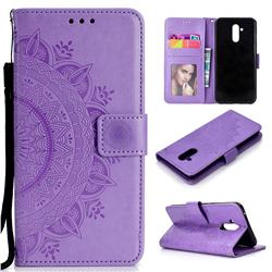 Intricate Embossing Datura Leather Wallet Case for Huawei Mate 20 Lite - Purple