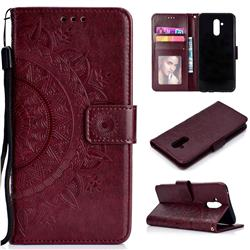 Intricate Embossing Datura Leather Wallet Case for Huawei Mate 20 Lite - Brown