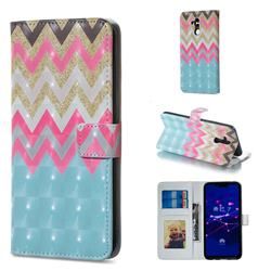 Color Wave 3D Painted Leather Phone Wallet Case for Huawei Mate 20 Lite