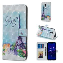 Paris Tower 3D Painted Leather Phone Wallet Case for Huawei Mate 20 Lite