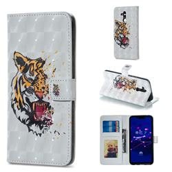 Toothed Tiger 3D Painted Leather Phone Wallet Case for Huawei Mate 20 Lite
