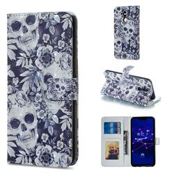 Skull Flower 3D Painted Leather Phone Wallet Case for Huawei Mate 20 Lite