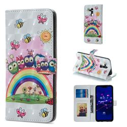 Rainbow Owl Family 3D Painted Leather Phone Wallet Case for Huawei Mate 20 Lite