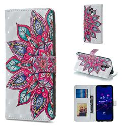 Mandara Flower 3D Painted Leather Phone Wallet Case for Huawei Mate 20 Lite