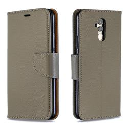 Classic Luxury Litchi Leather Phone Wallet Case for Huawei Mate 20 Lite - Gray