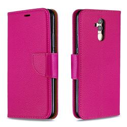 Classic Luxury Litchi Leather Phone Wallet Case for Huawei Mate 20 Lite - Rose