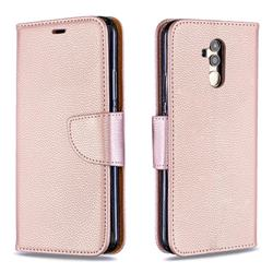 Classic Luxury Litchi Leather Phone Wallet Case for Huawei Mate 20 Lite - Golden