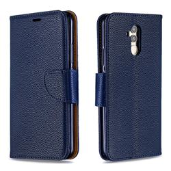 Classic Luxury Litchi Leather Phone Wallet Case for Huawei Mate 20 Lite - Blue