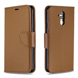 Classic Luxury Litchi Leather Phone Wallet Case for Huawei Mate 20 Lite - Brown
