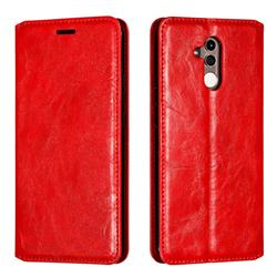 Retro Slim Magnetic Crazy Horse PU Leather Wallet Case for Huawei Mate 20 Lite - Red